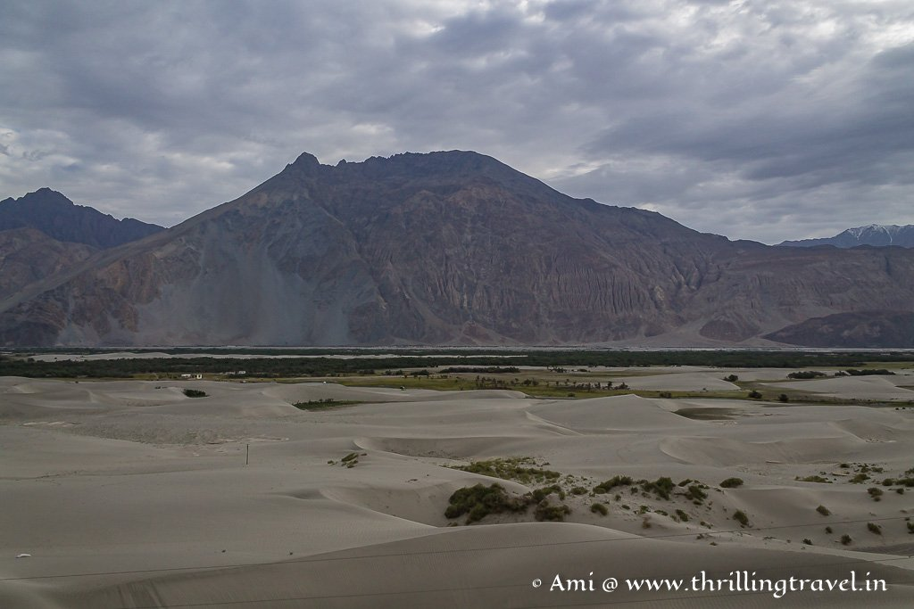 The barren mountains and sand dunes of Nubra Valley