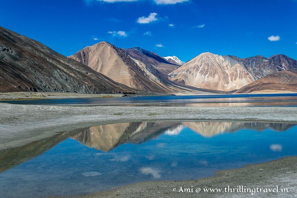 Reflections seen at the Ladakh Pangong Lake