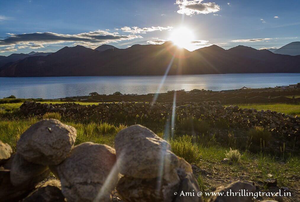 Sunrise at Pangong Tso Lake Ladakh