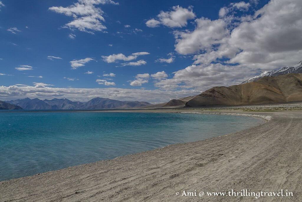 A high altitude saline water lake that freezes in winter - Pangong Lake Ladakh