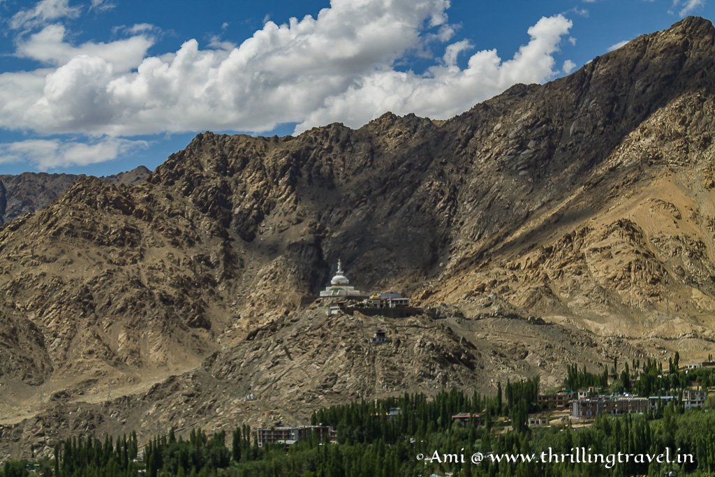 Shanti Stupa as seen from the Royal Leh Palace
