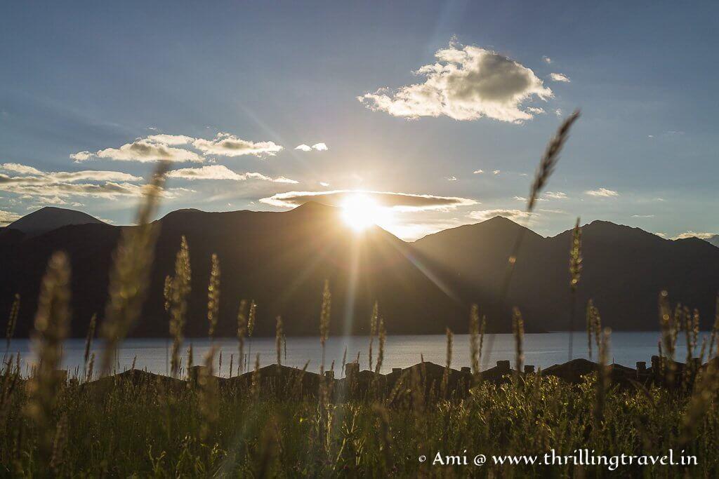 Sunrise over Ladakh Pangong Lake