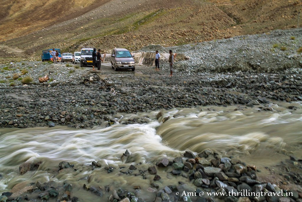 Streams that you will have to cross enroute to Pangong Lake - make sure you have a good 4x4 vehicle