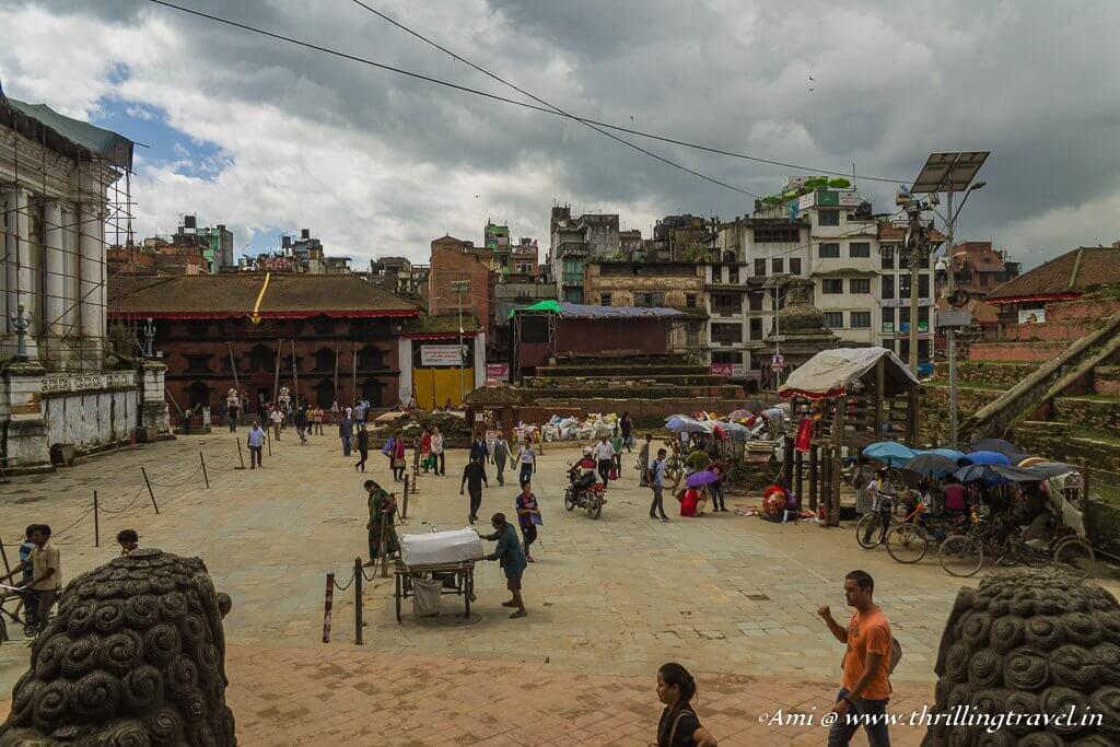 Kumari Ghar at the far end of the Kathmandu Durbar Square