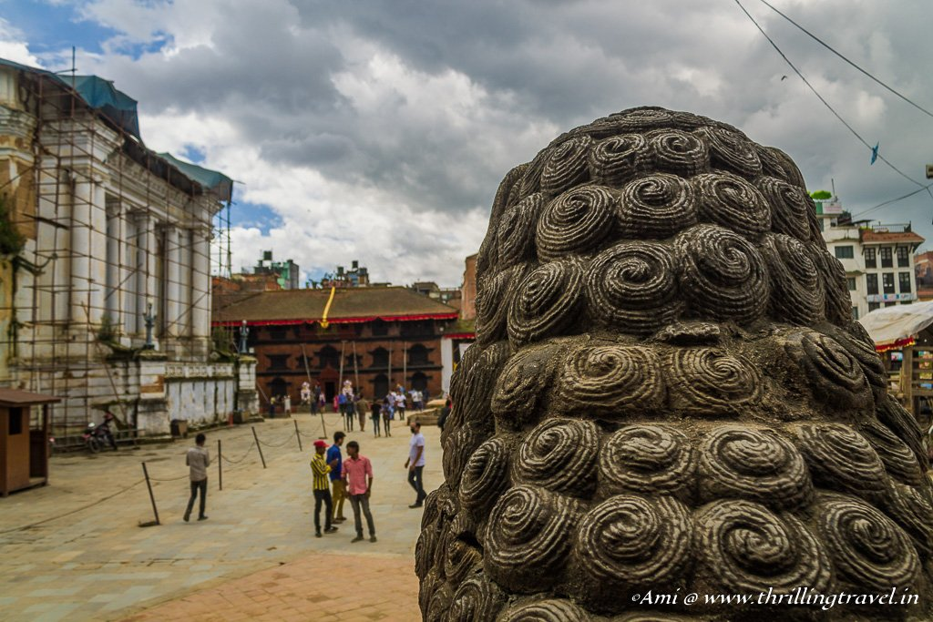 Looking straight at the Kumari Ghar from the Shiva Parvati temple at Kathmandu Durbar Square