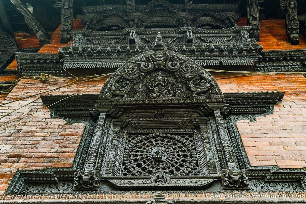 Intricate circles or chakras on the windows of Kumari Ghar