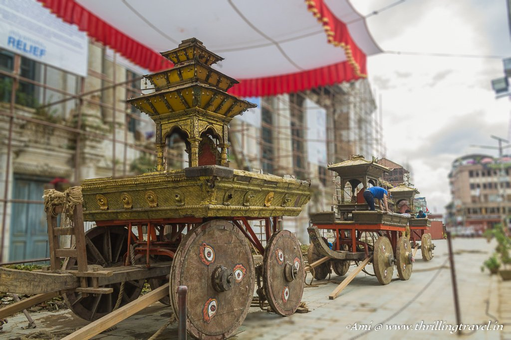 The three chariots that are ready for the Indra Jatra