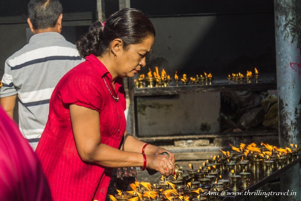 Butter Lamps being lit for the deceased at Indra Jatra