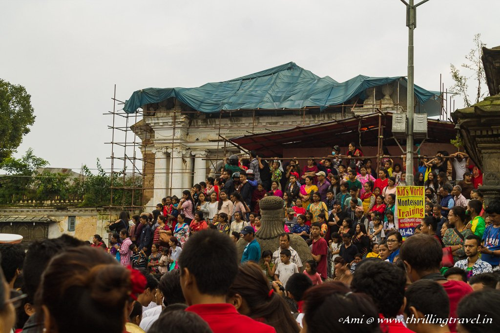 Crowds thronging to see Kumari during the Indra Jatra