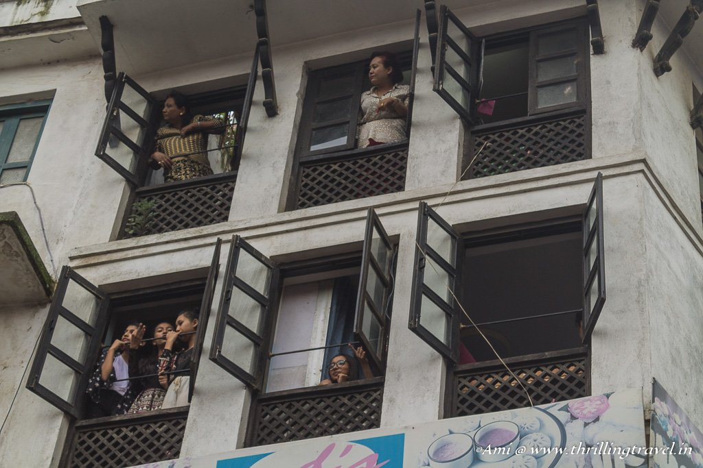 Trying to get the best seat for the Indra Jatra