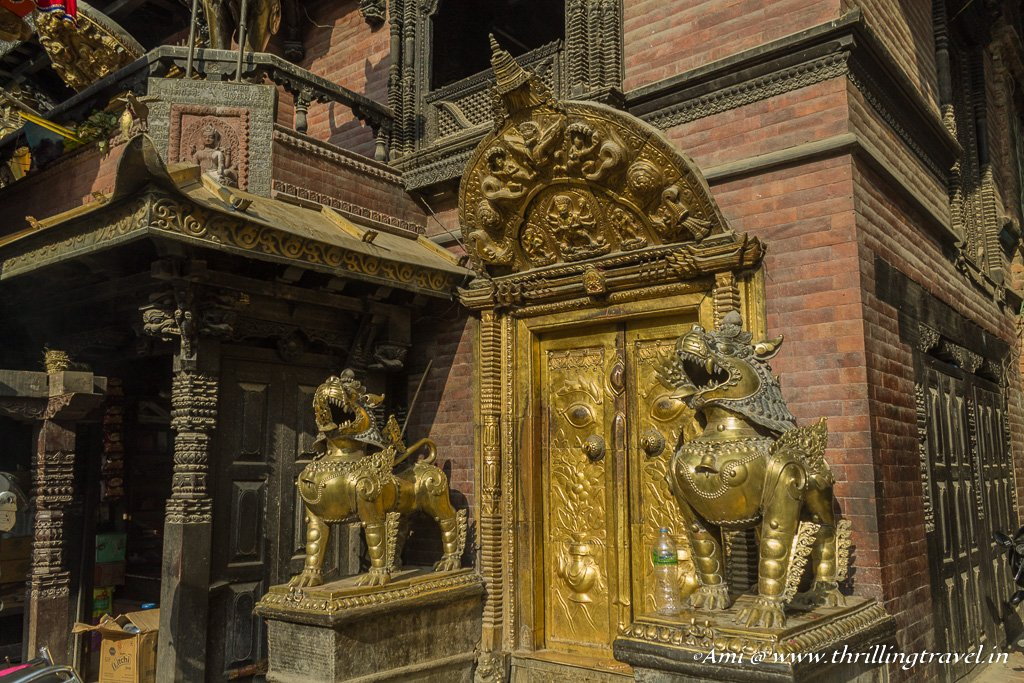 The beautiful doors of the Akash Bhairava temple