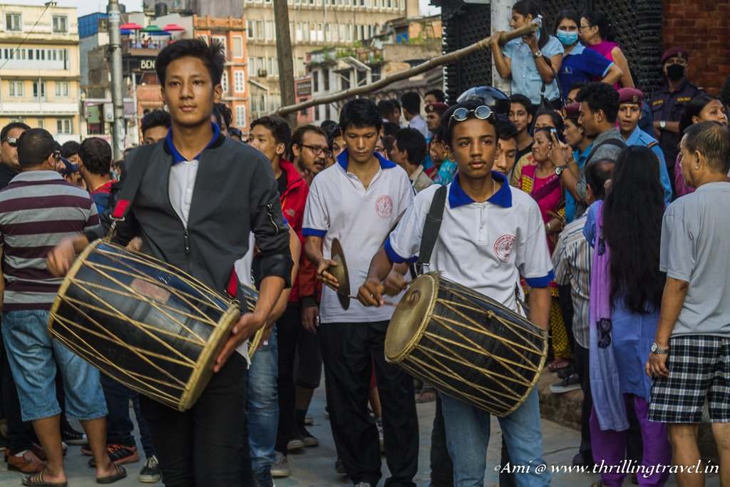 Band that accompanies the procession at Indra Jatra