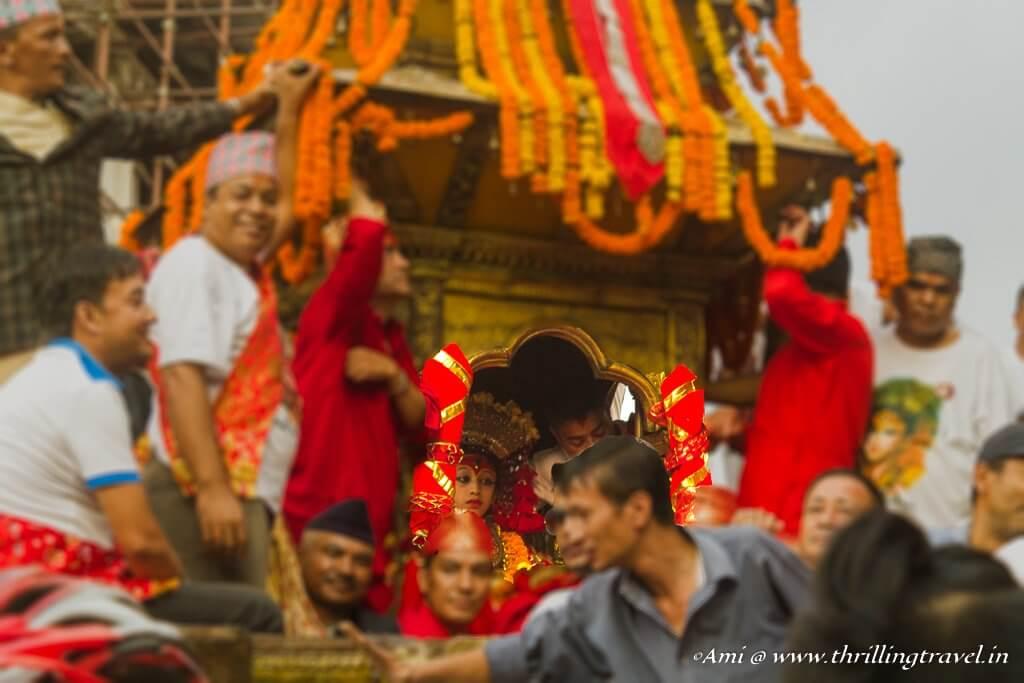 Kumari during the Indra Jatra