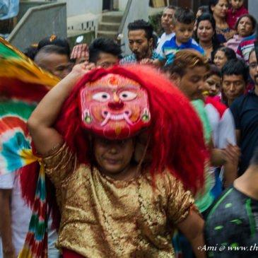 Celebrating Indra Jatra festival in Kathmandu, Nepal