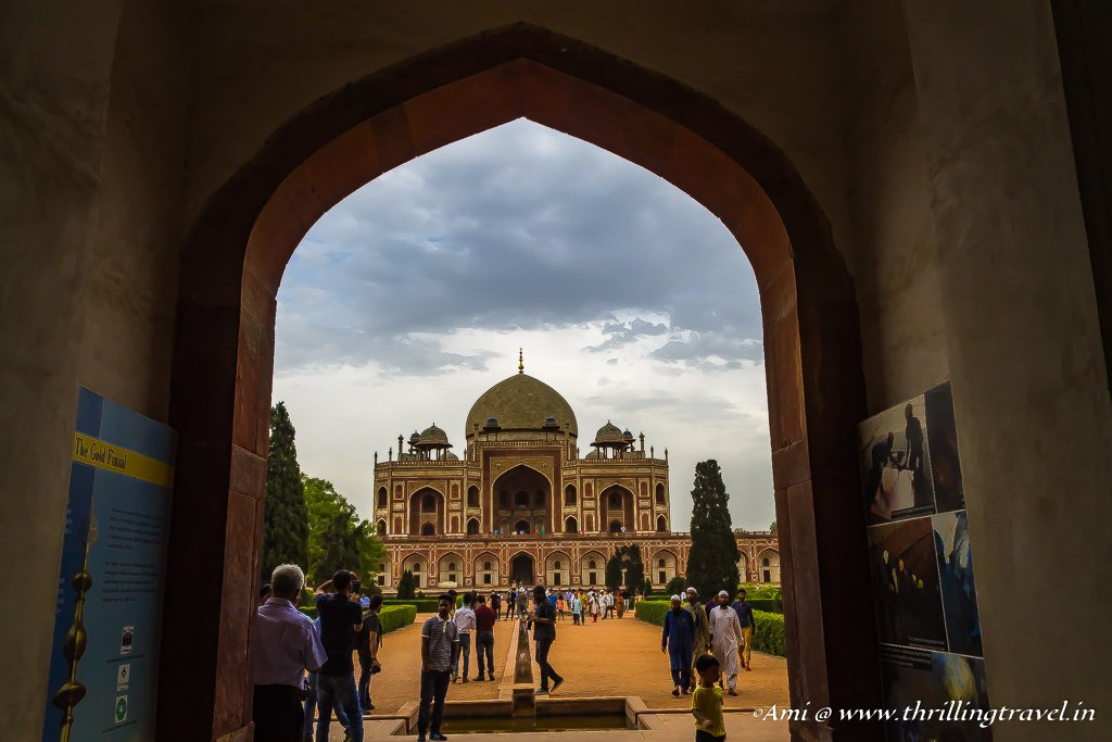 The first glimpse of Humayun's tomb through the West gate entrance