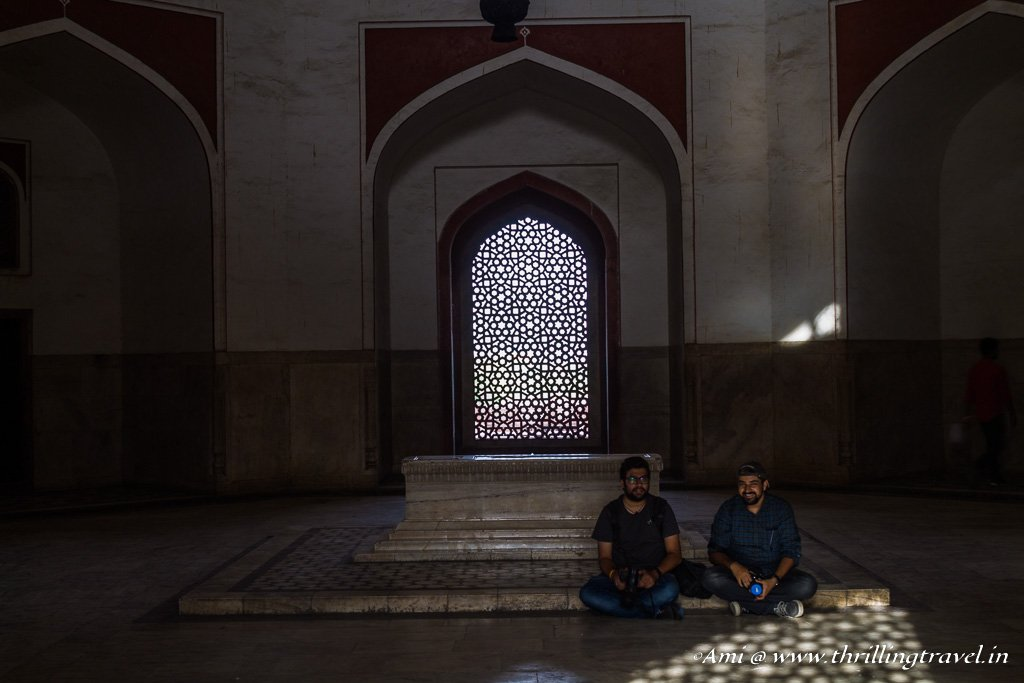Through the latticed windows - a glimpse of the grave at Humayun's tomb