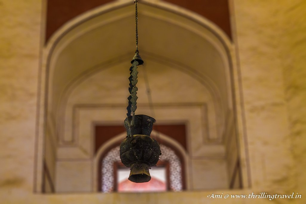 The lamp in the main chamber of Humayun's tomb