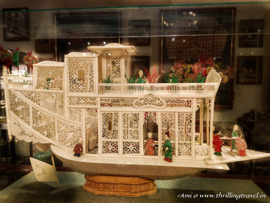 Ivory ship - one of the many Chinese art pieces at Baba Nonya Mansion