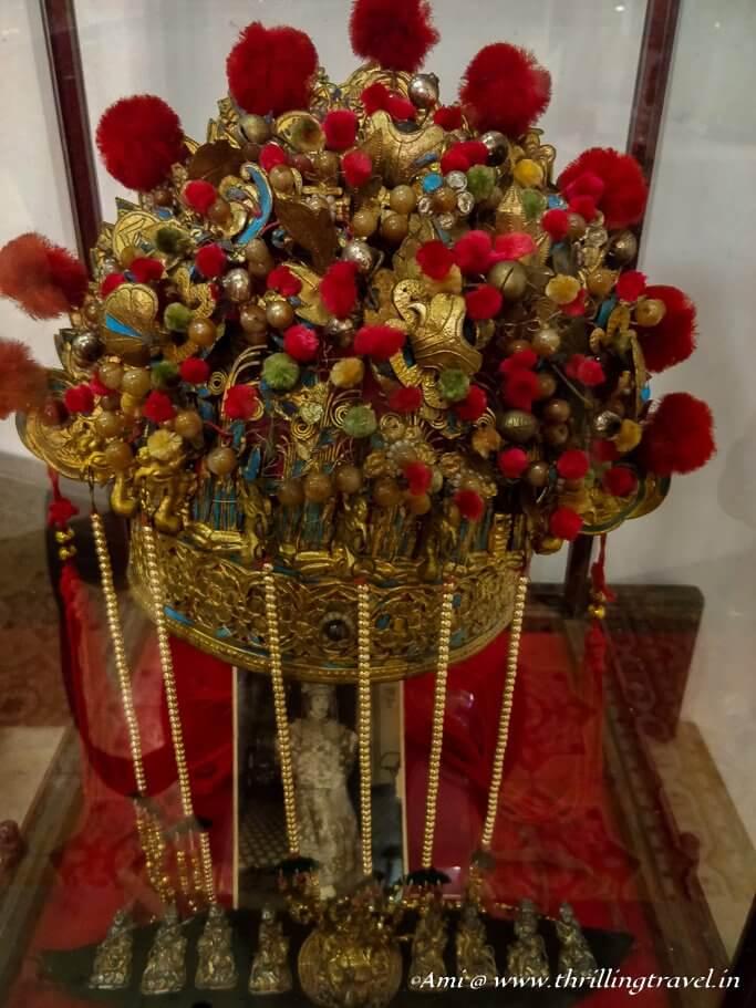 Nonya's bridal head gear at Baba Nonya's mansion, Penang