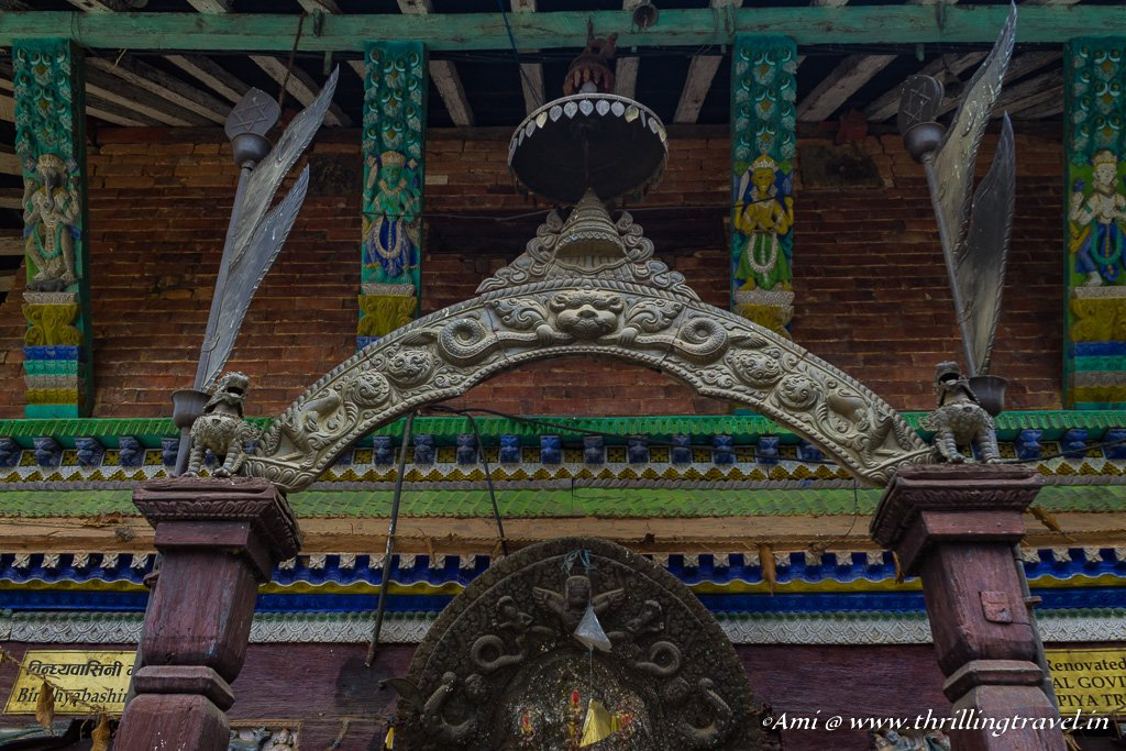 Close up of the Newari temple in Bandipur
