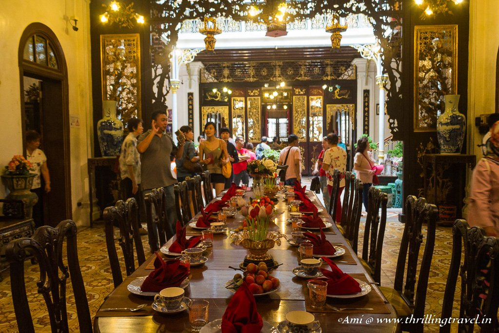The gorgeous dining hall of Pinang Peranakan Mansion in Penang
