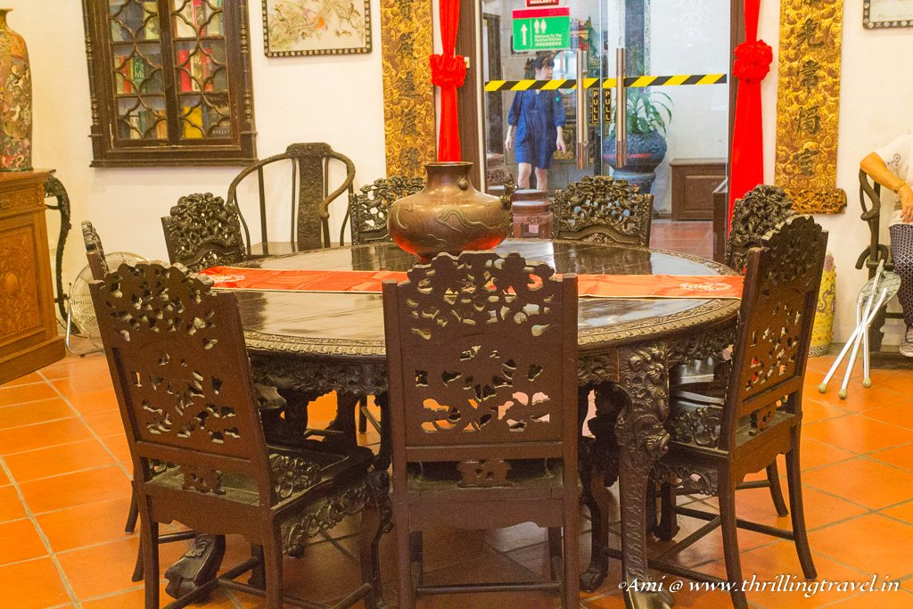 Round tables in one of the rooms of Pinang Peranakan mansion