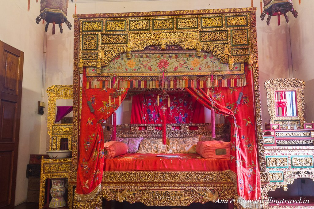 The ceremonial wedding bed at Pinang Peranakan Mansion