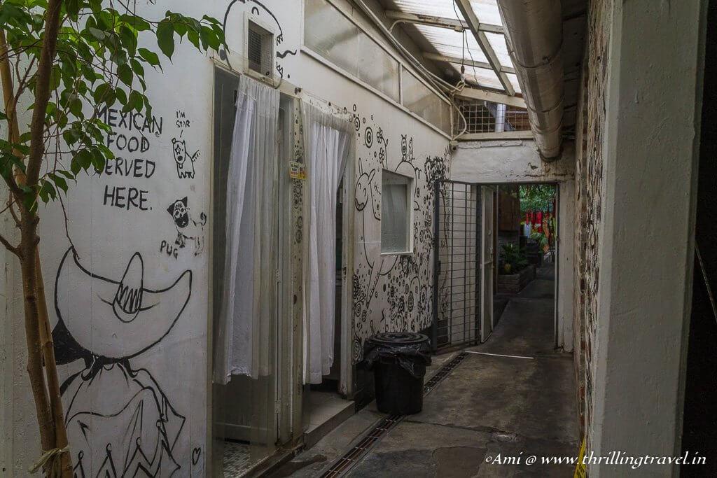 The long corridors of Kopi C Cafe