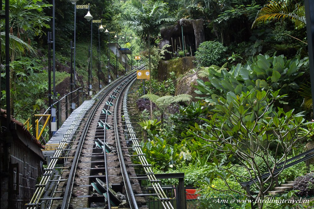 The Funicular track that cuts through the greens of Penang Hill