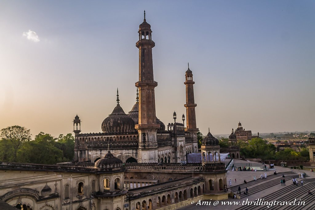 Asafi Mosque and Rumi Darwarza as seen from the roof of Bara Imambara