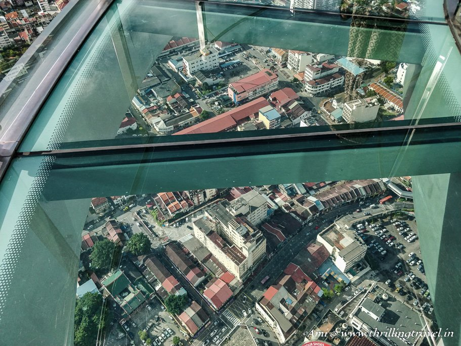 The first dose of the glass skywalk on the 65th floor of Komtar Penang