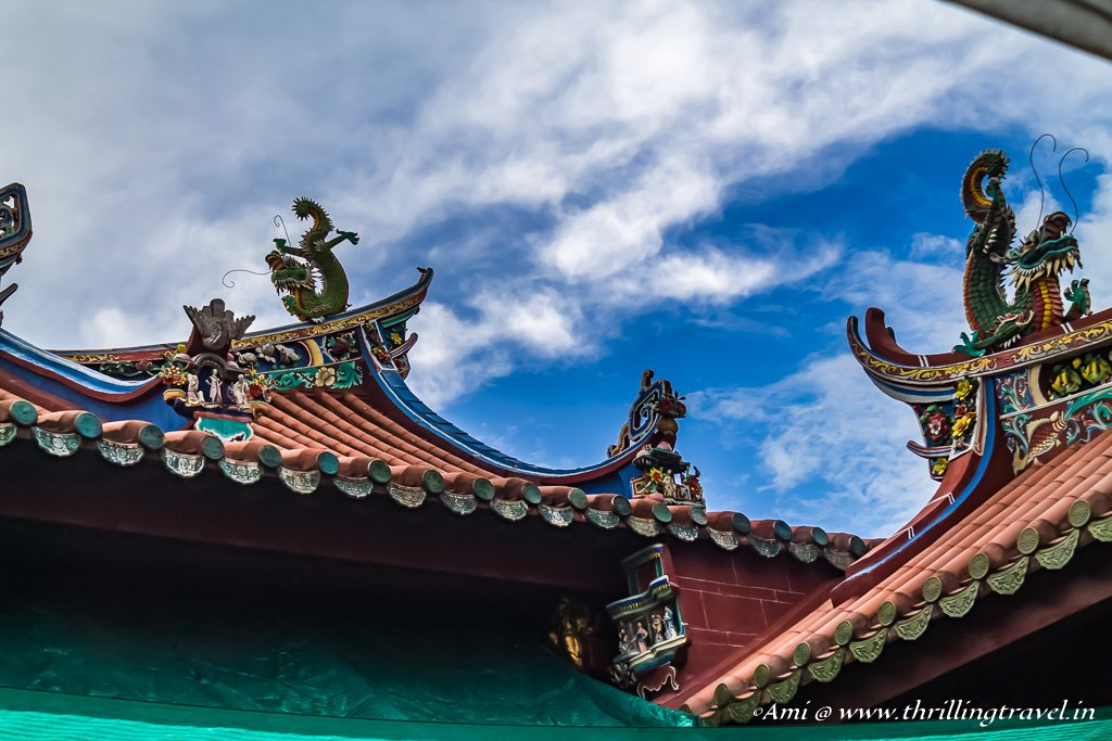 The beautiful roof of the Kong Hock Keong temple on Street of Harmony, Penang