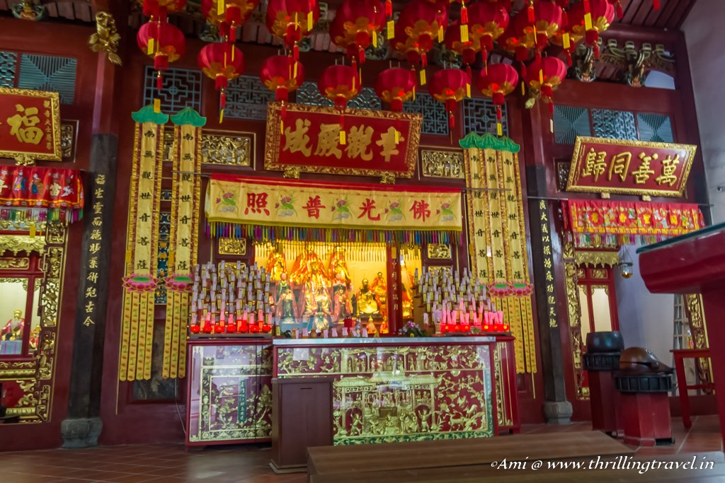 The altar of the Goddess of Mercy temple, Penang