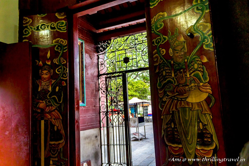 The ornate doors of the Goddess of Mercy temple, Penang