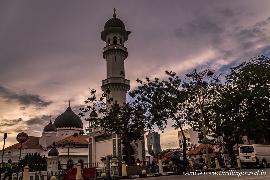 Kapitan Keling Mosque at Sunset on Street of Harmony, Penang