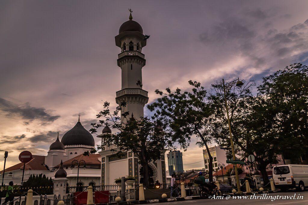 Kapitan Keling Mosque at Sunset on Street of Harmony, Penang