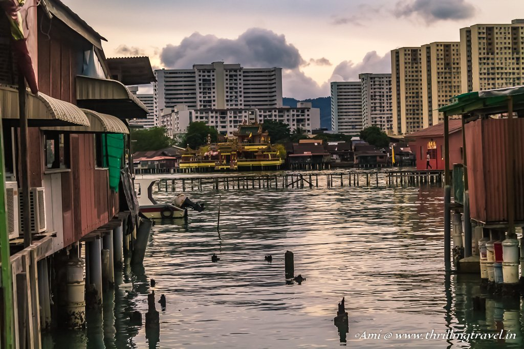 The houses on Chew Jetty and the view beyond