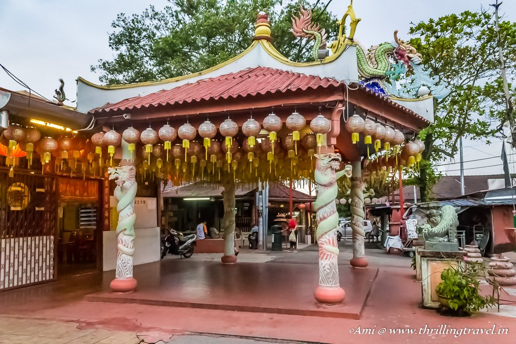 The Chinese temple at the entrance of Chew Jetty