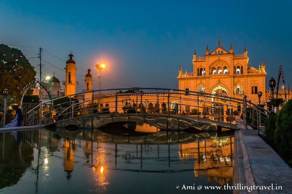 The central line of fountains and hanging bridge of the Char bagh styled gardens of Chota Imambara
