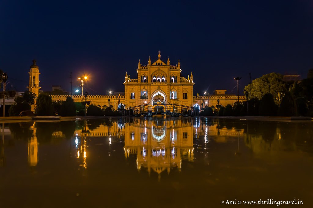 TheThe Hussainabad Gateway as it glittered even its reflection in the pools of Chota Imambara