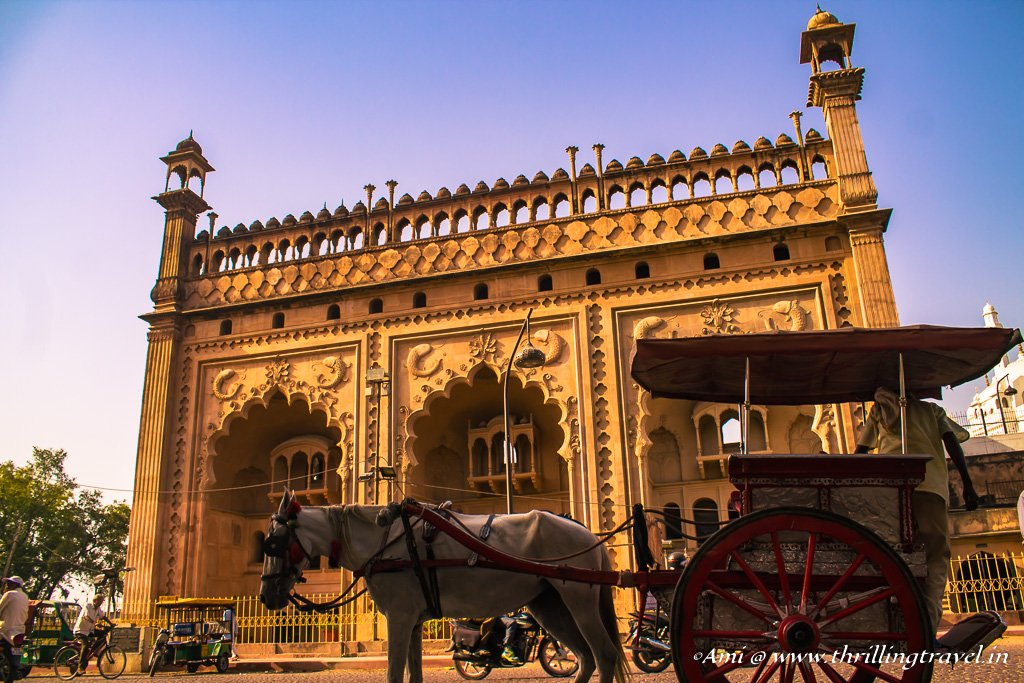 Our Carriage awaits in front of the Naubat Khana, near the Rumi Darwaza, Lucknow