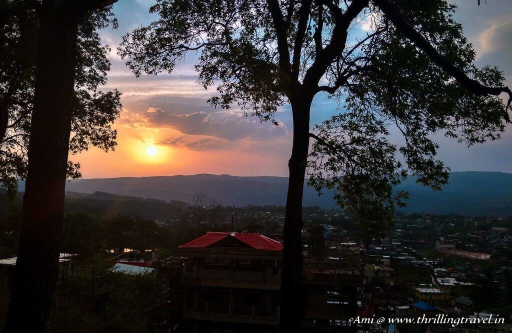 Sunset enroute to Shillong peak