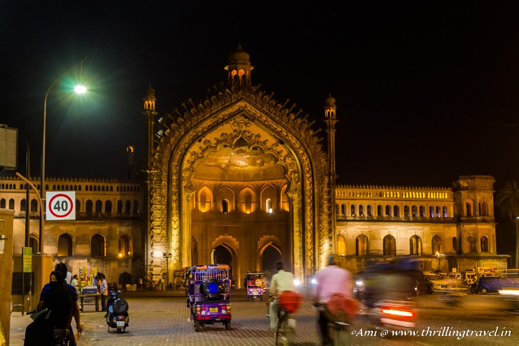 The Western side of the Rumi Darwaza at night with its single facade.