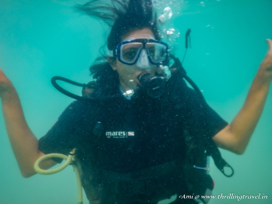 Learning to breathe underwater in Scuba Diving