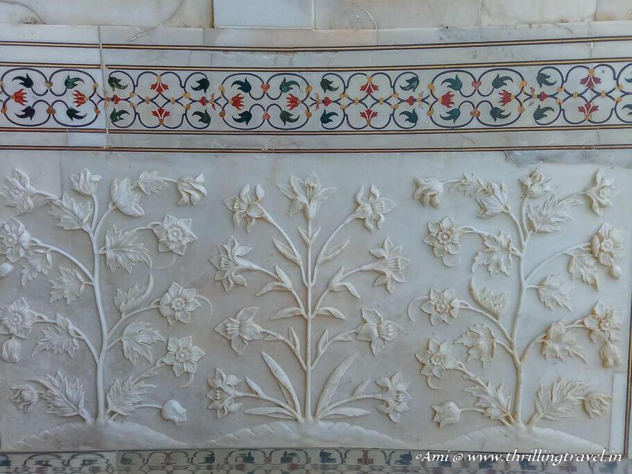 Gem stone inlays and Floral motifs along the walls of the Taj Mahal