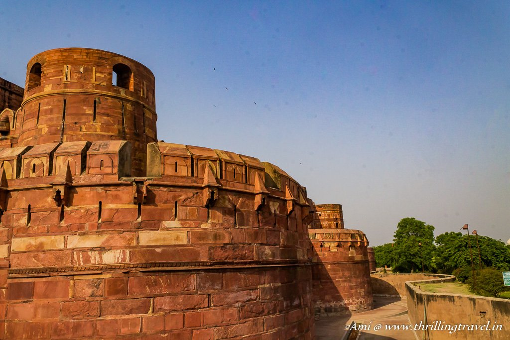 The bastion and the outer walls of Agra Fort