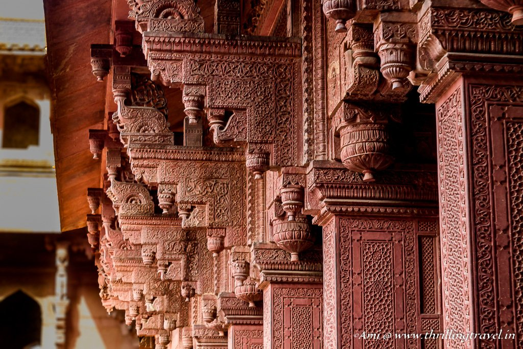 Red sandstone pillars Inside Jahangari Palace, Agra Fort