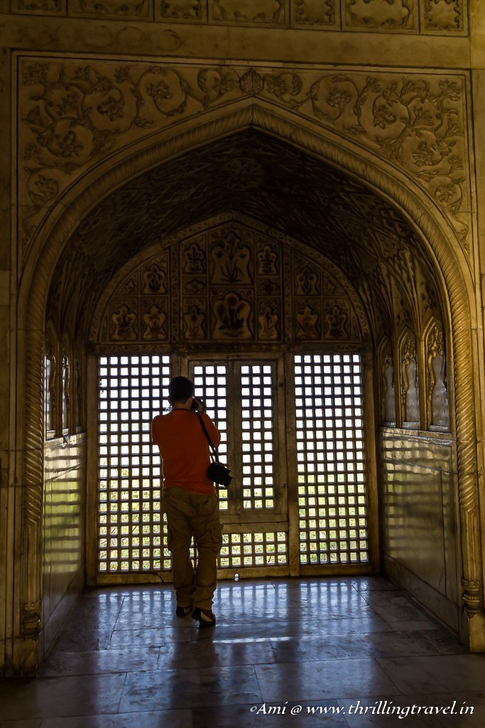 Capturing the Taj through the windows of Khas Mahal, Agra Fort
