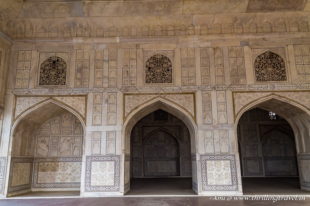 The outer and inner chambers of Diwan-i-Khas in Agra Fort