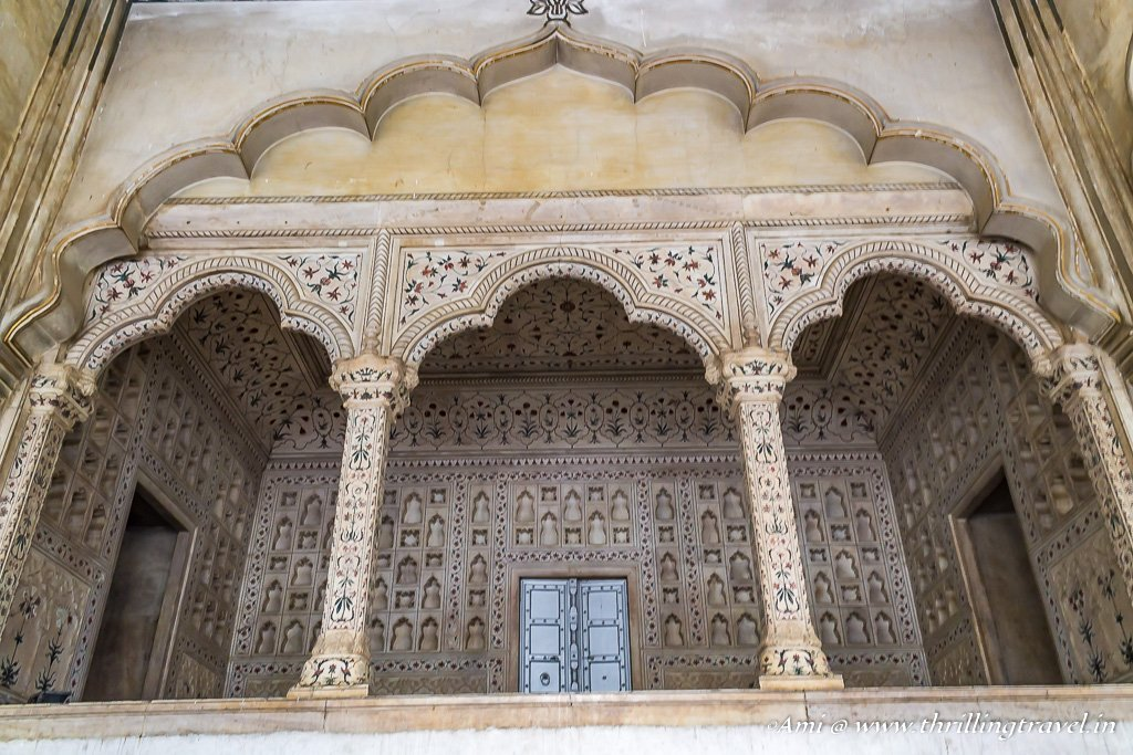 The Emperor's seat in Diwan-i-Aam of Agra Fort